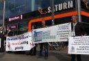 6. Juni 2017: Protestaktion gegen die Geschäfte von Hewlett Packard in Berlin